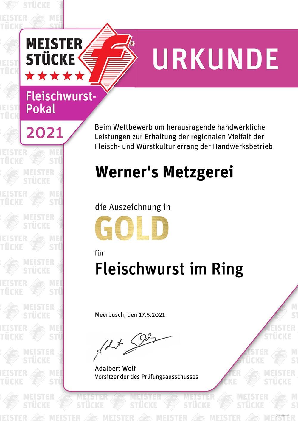 Qualitätsprüfung, Fleischwurst am Ring, Urkunde